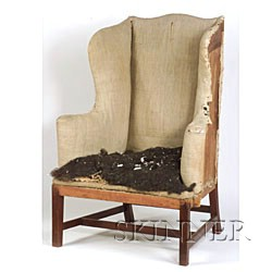 Chippendale Red Stained Birch Upholstered Easy Chair