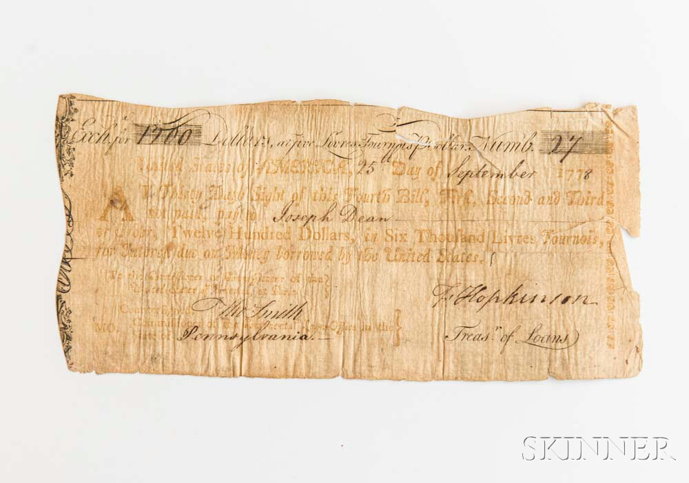 Hopkinson, Francis (1737-1791) Signed $1,200 Thirty-Day Sight Draft, 25 September, 1778.