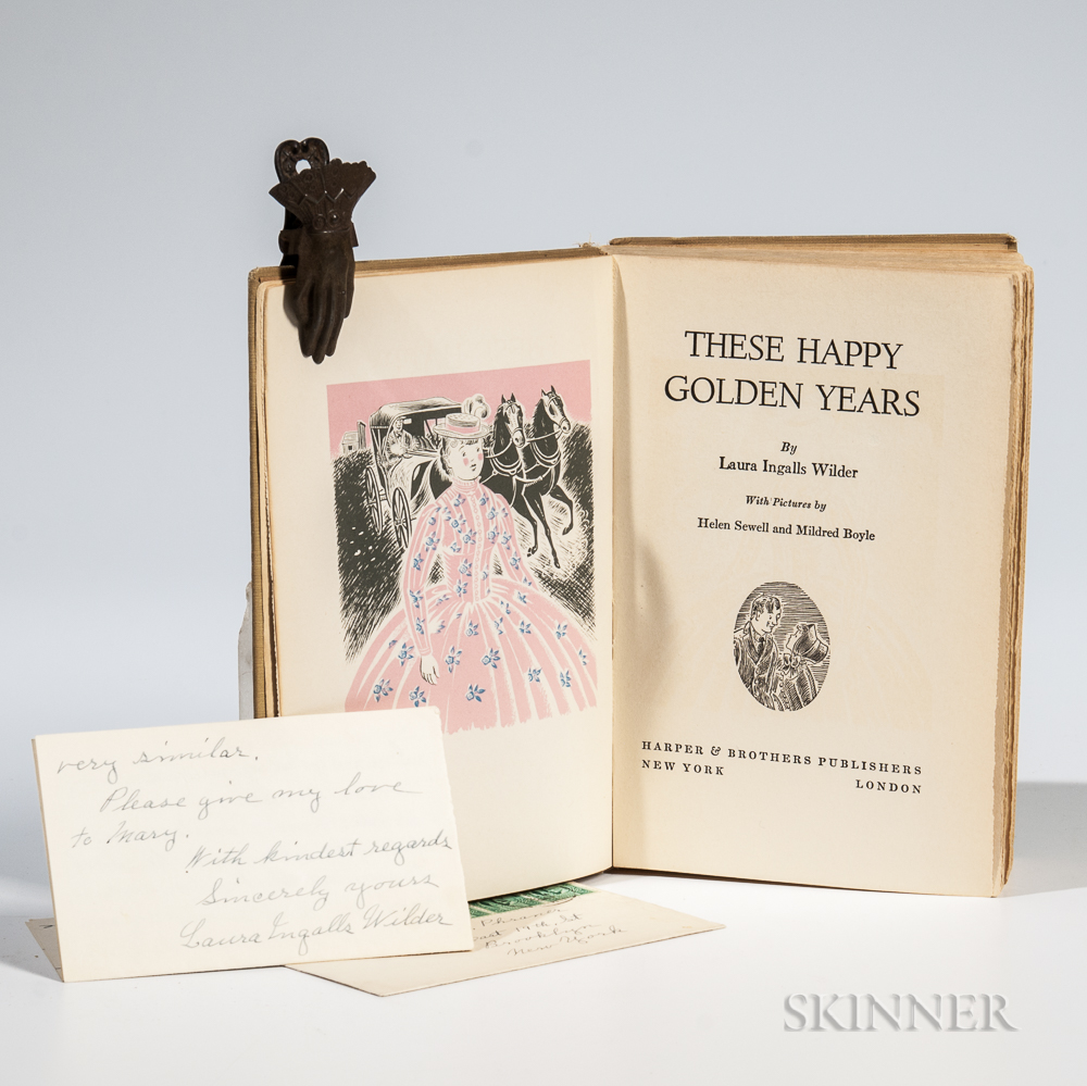 Wilder, Laura Ingalls (1867-1957) These Happy Golden Years,   and Two Autograph Letters Signed.