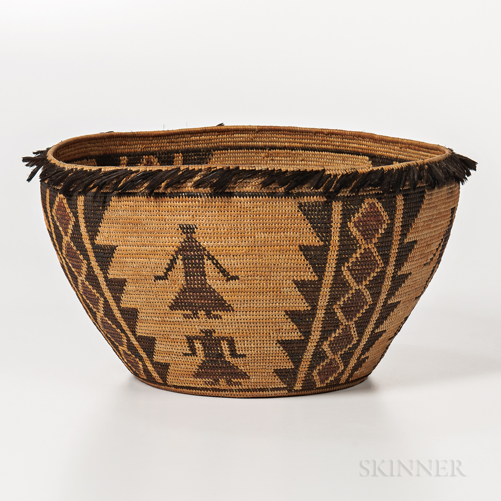 Yokuts Pictorial Feathered Basket