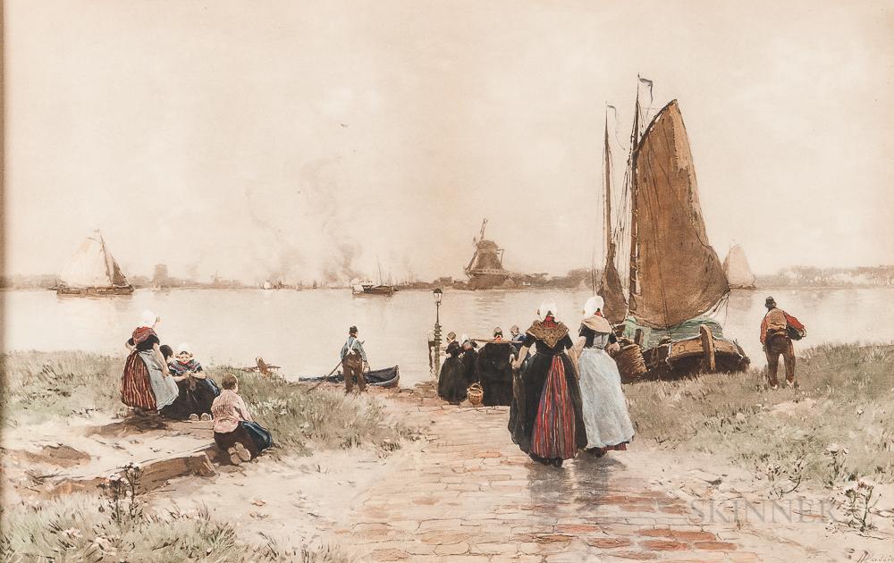 Henri Cassiers (Belgian, 1858-1944)      Dutch Harbor Scene