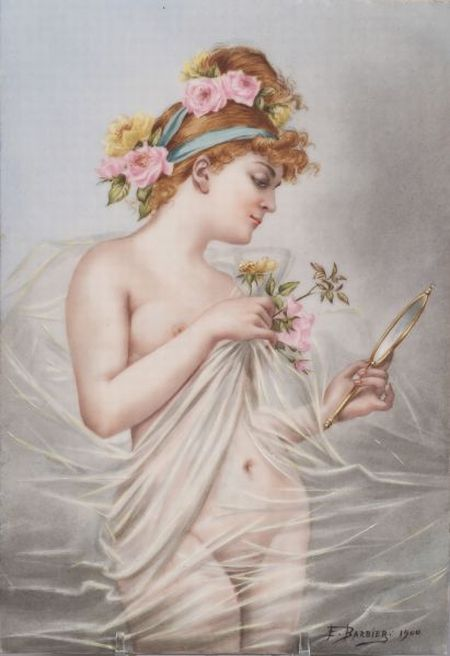 German Painted Porcelain Plaque of an Allegorical Maiden