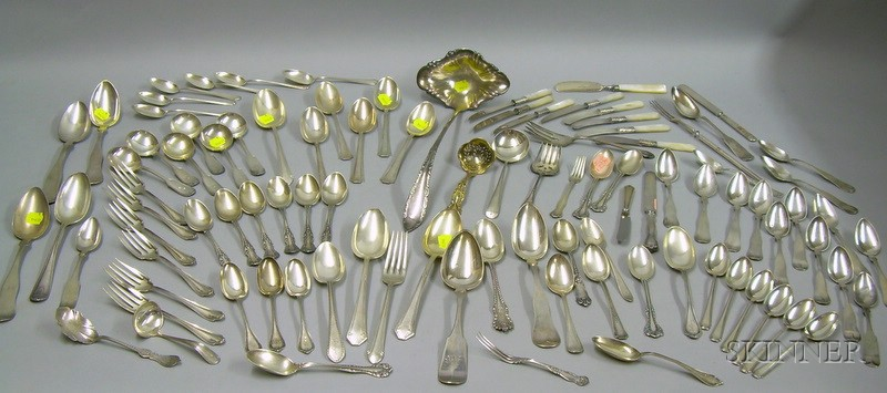 Sixty-two Pieces of Sterling Silver, Twenty-two Coin, and Fourteen Pieces of Silver Plated and Mother of-pearl ...