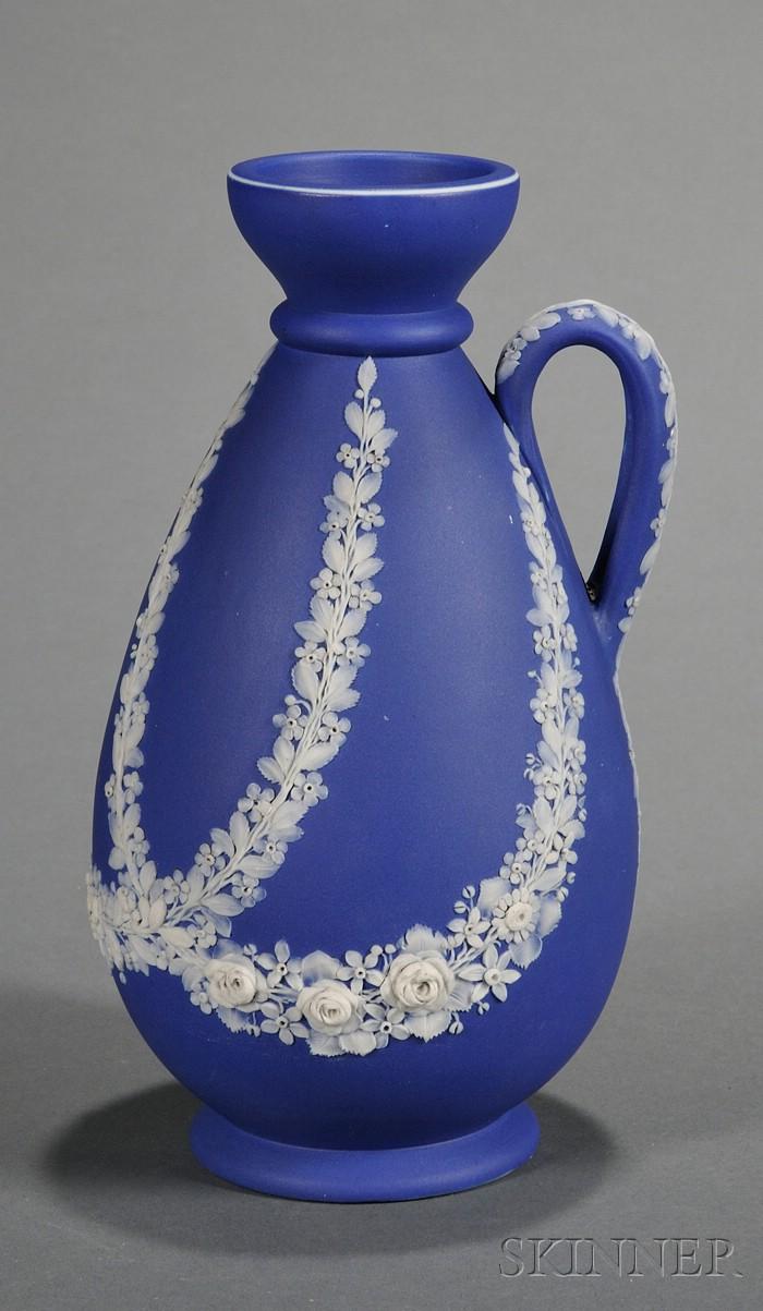 Wedgwood Dark Blue Jasper Dip Freestyle Relief Vase