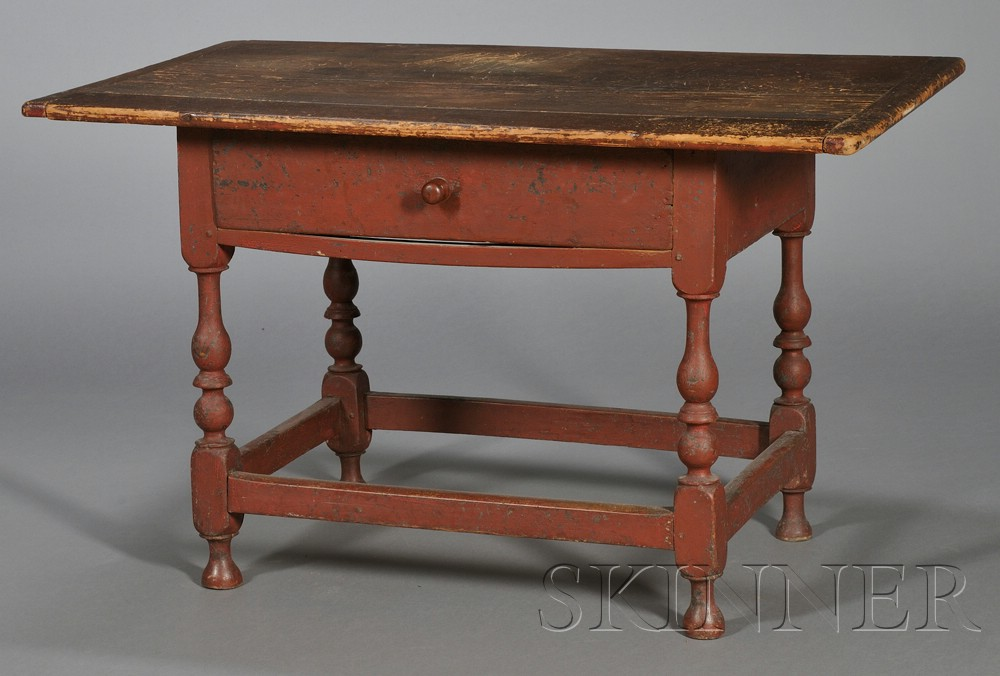 Painted Maple and Pine Tavern Table with Drawer