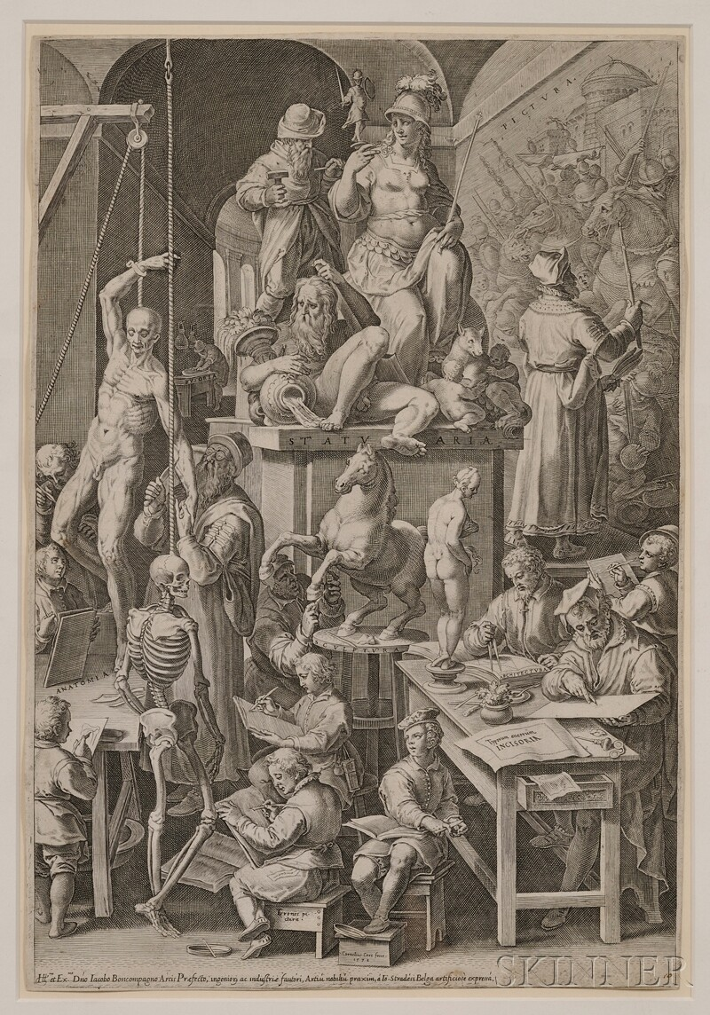 Cornelis Cort (Dutch, 1533-1578)      The Drawing Academy