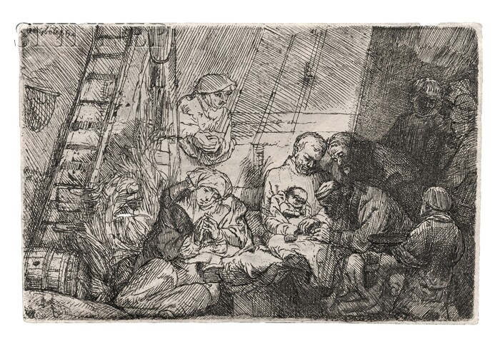 Rembrandt van Rijn (Dutch, 1606-1669)      The Circumcision in the Stable