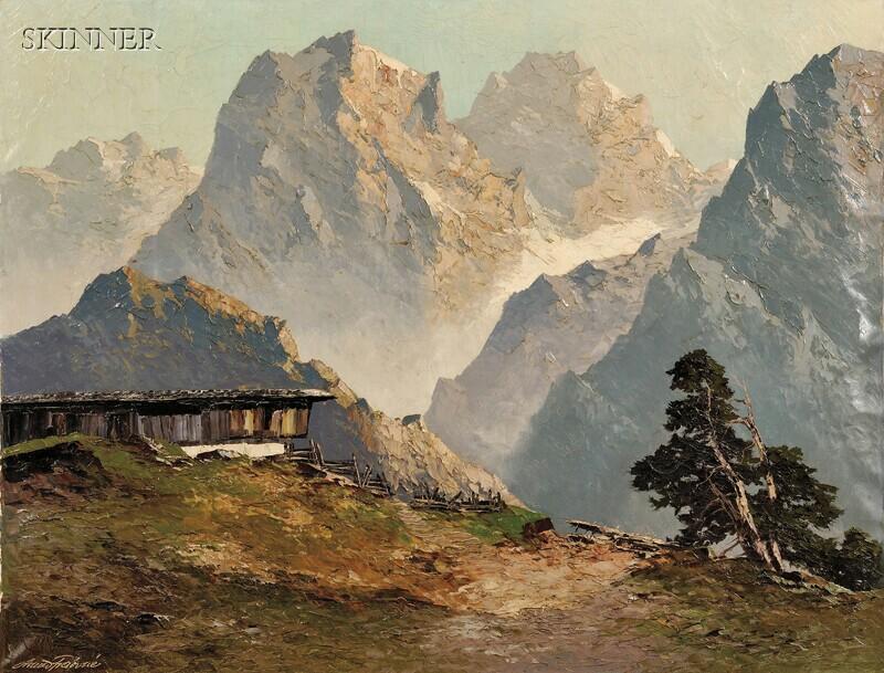 Arnold Graboné (German, 1898-1981)      Rottensteinweg, Brixtental / A Tyrolean Alps View