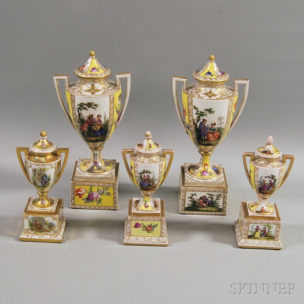 Five Vienna Porcelain Covered Urns