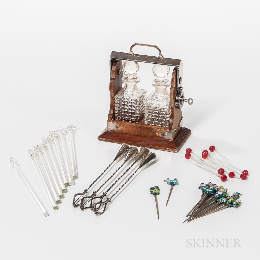 Miniature Tantalus and a Variety of Cocktail Picks and Stirrers