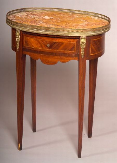 Louis XV Style Inlaid Tulipwood and Marble-top Oval Gueridon