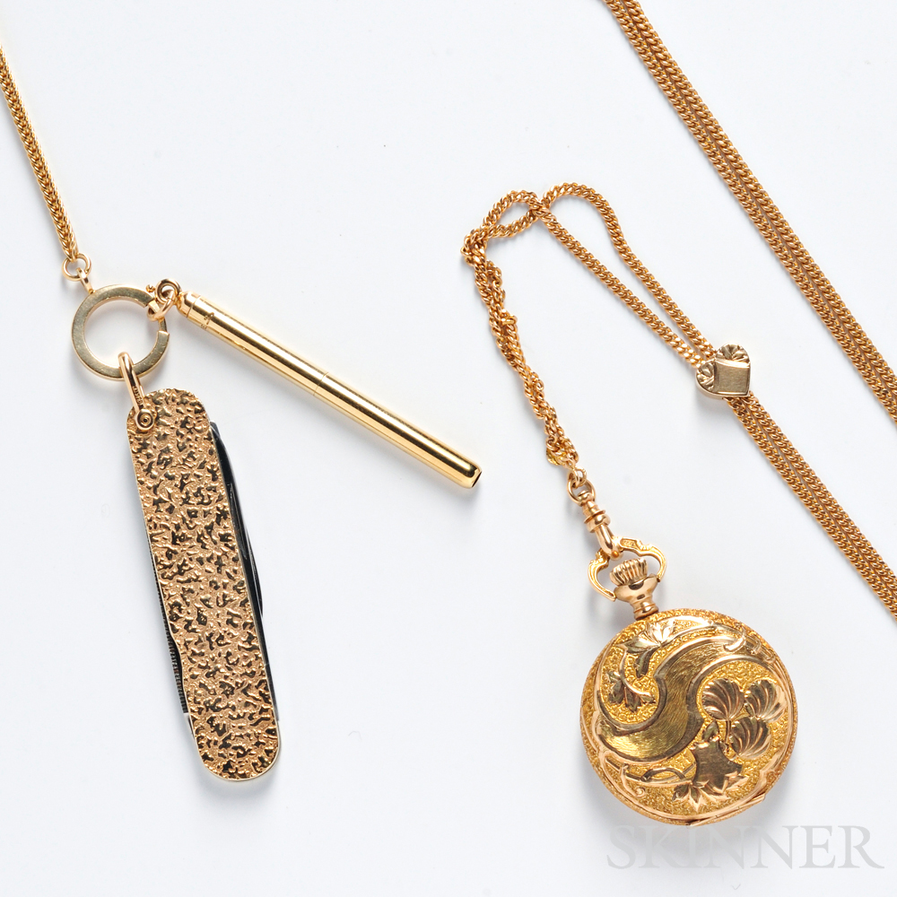 14kt Gold Hunting Case Pocket Watch, Chain, and Knife