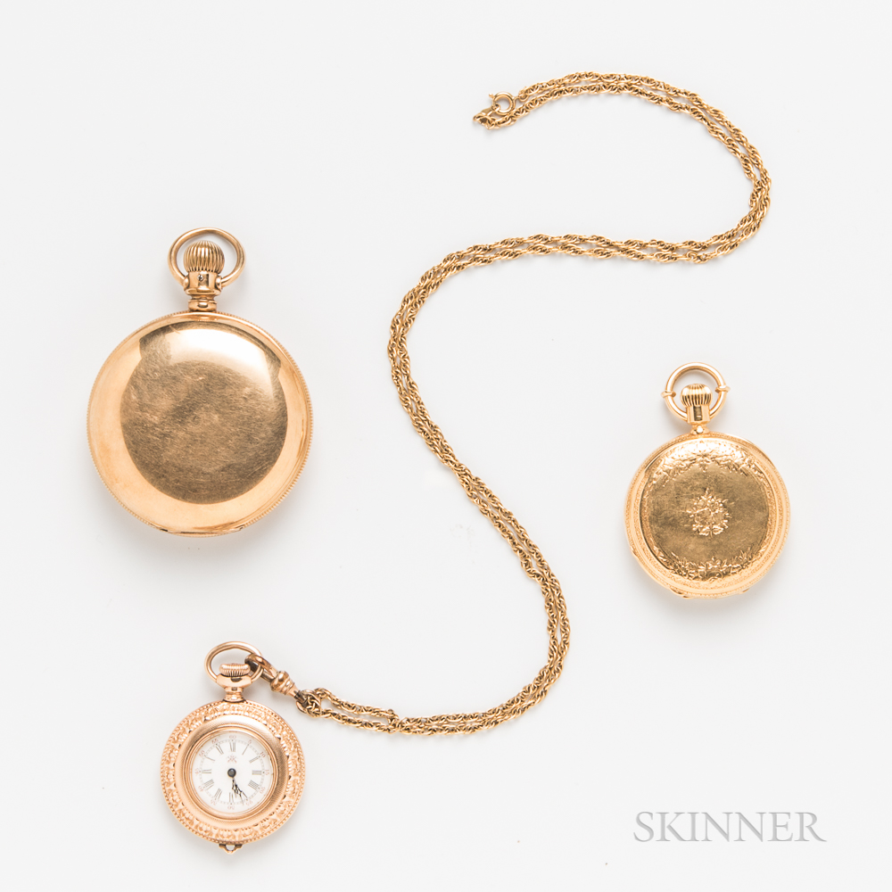 18kt Gold Hunter-case and Two Gold-filled Pocket Watches