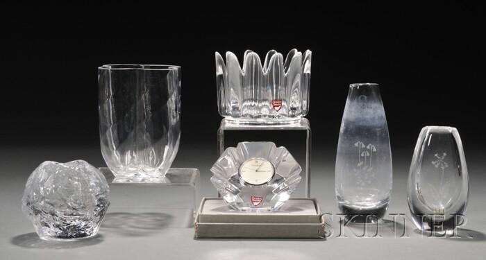 Six Swedish Glass Items