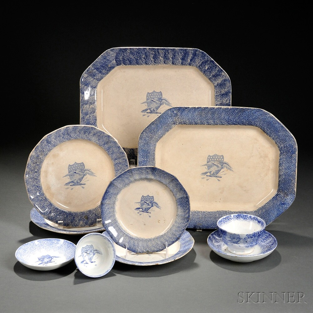 American Eagle Furniture Elizabeth New Jersey: Eight Pieces Of Eagle Transfer-decorated Blue Spatterware