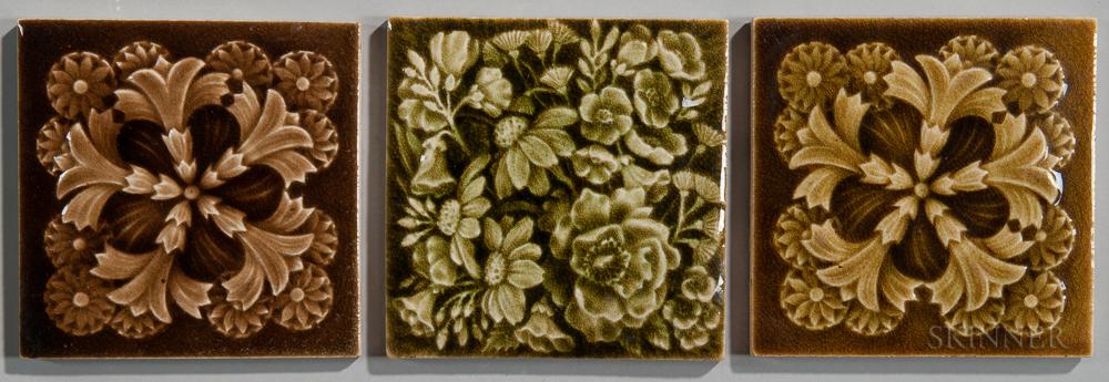 Three Providential Tile Works Art Pottery Tiles