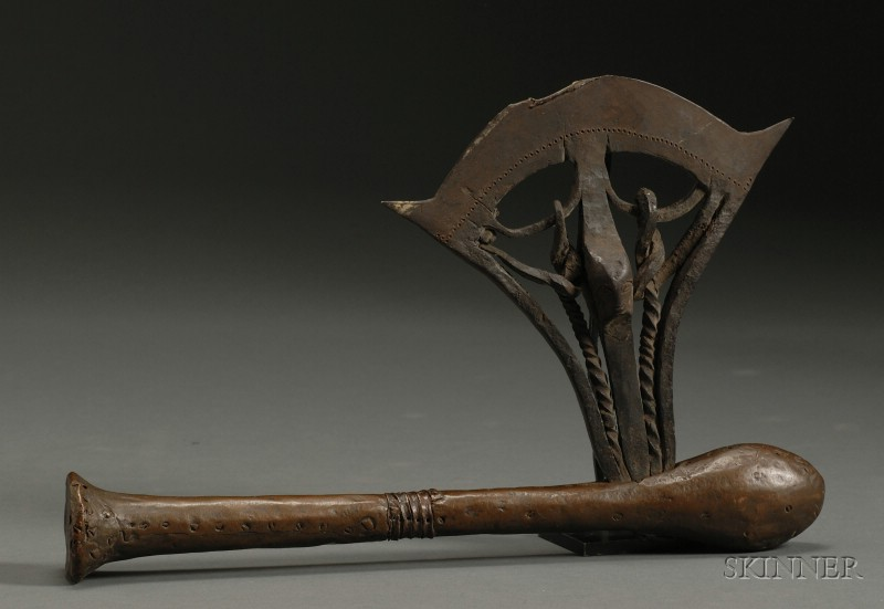 African Wood and Metal Ceremonial Axe