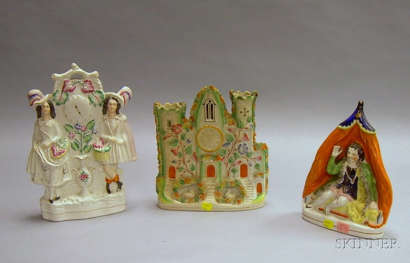 Staffordshire Figural Spill Vase and Two Figural Groups.