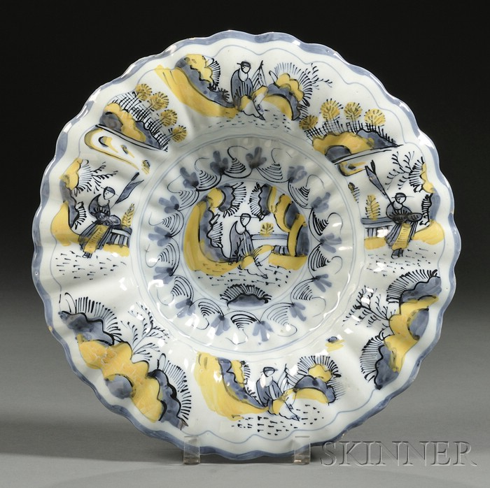 Polychrome Decorated Delft Deep Dish