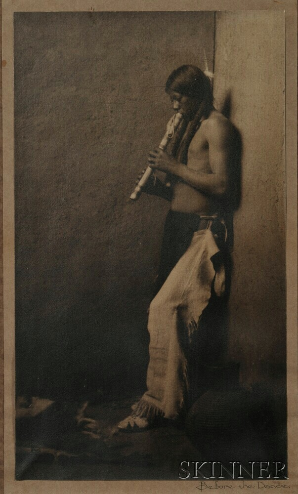 Framed Photograph of a Flute Player by Karl Moon (1879-1948)