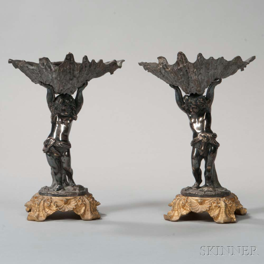 Pair of Louis XV-style Silvered Bronze Putto Tazzas