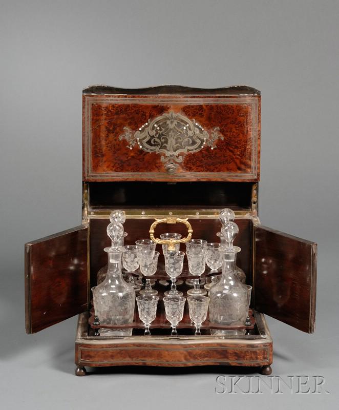 Burl Walnut Cordial Cabinet