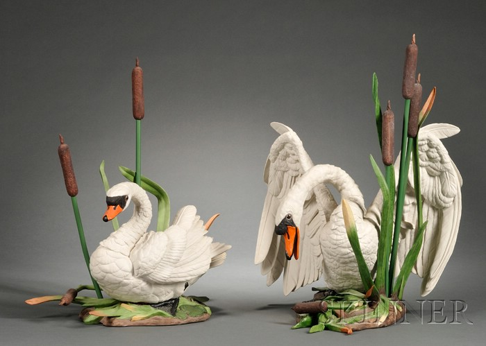 Pair of Boehm Porcelain Figures of Mute Swans