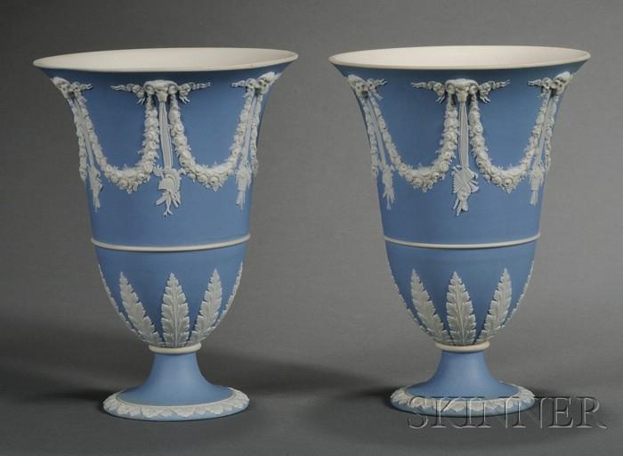 Pair of Wedgwood Light Blue Jasper Dip Vases and Covers
