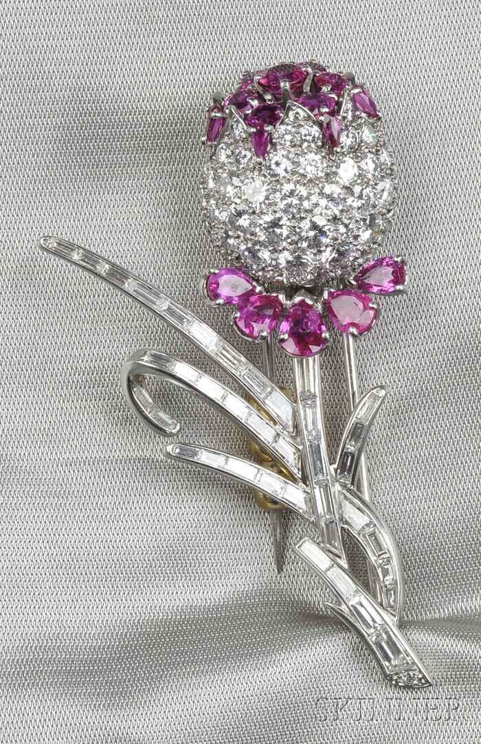 14kt White Gold, Ruby, and Diamond Brooch
