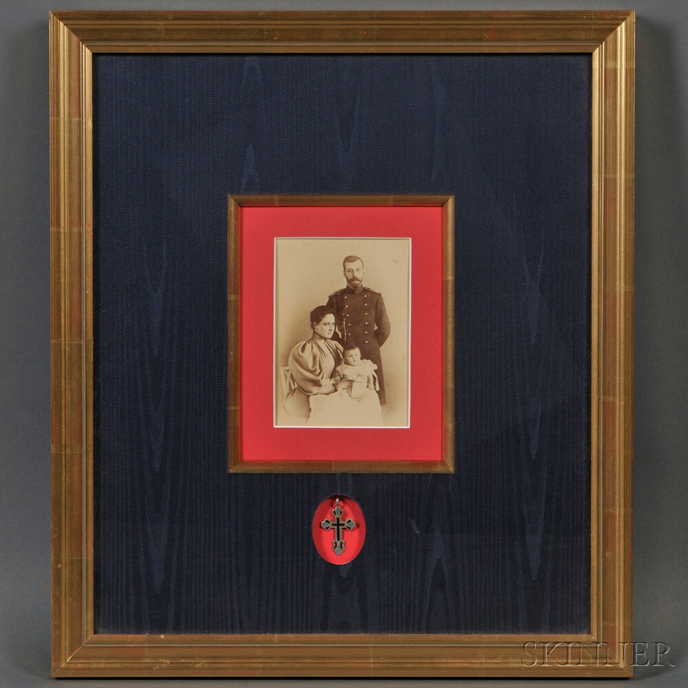 Framed Cabinet Photo and a Silver Baptismal Cross