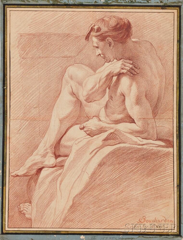 School of Edmé Bouchardon (French, 1698-1762)      Reclining Male Nude
