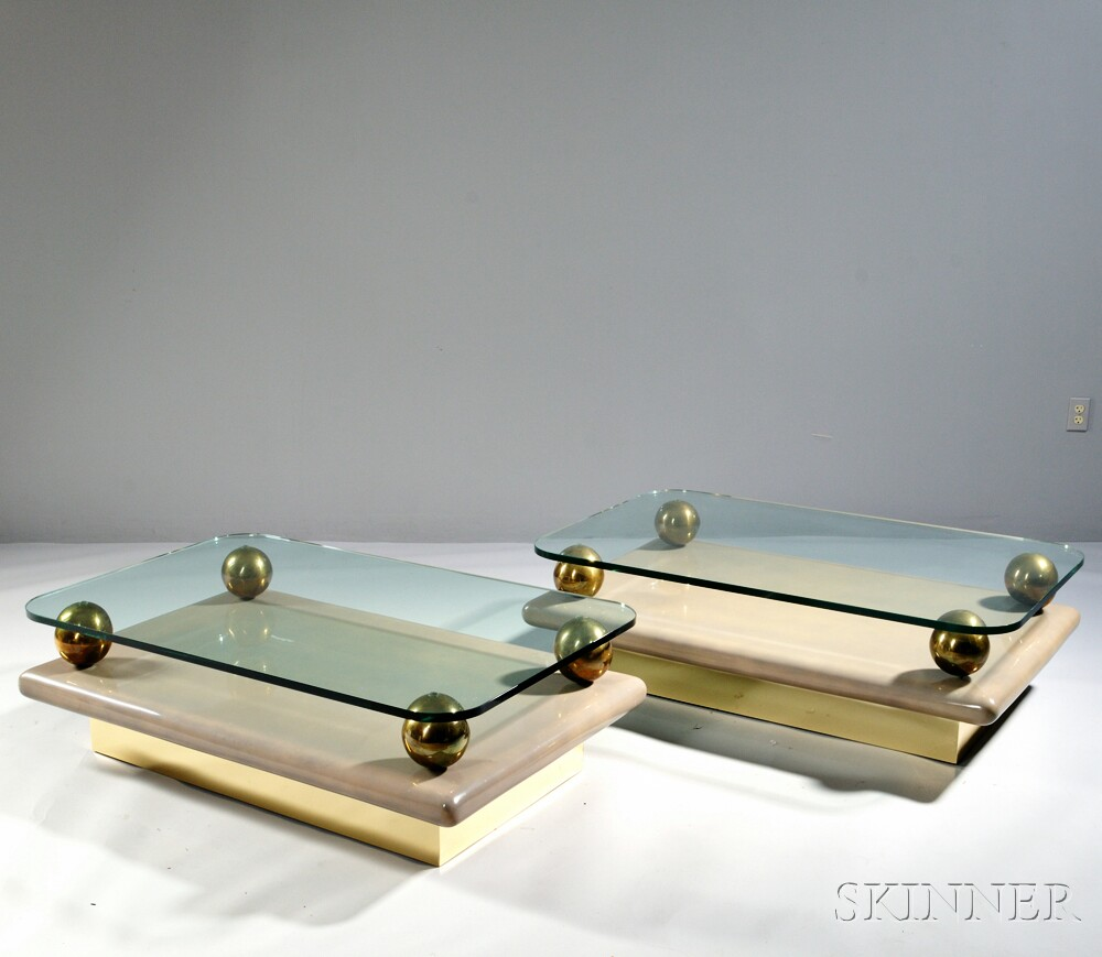Pair of Italian Modernist Glass, Lacquer, and Brass Coffee Tables