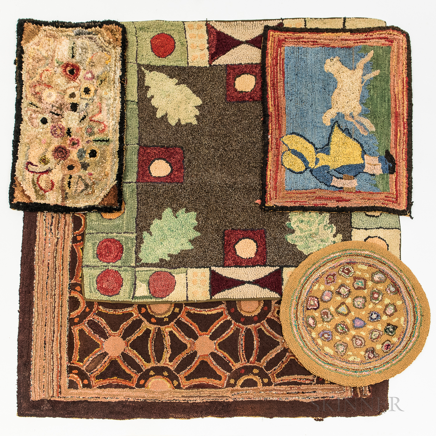Five Hooked Rugs and Chair Mats