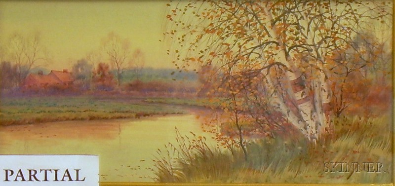 Lot of Two Framed Watercolor with Gouache on Paper/board Autumn Landscapes