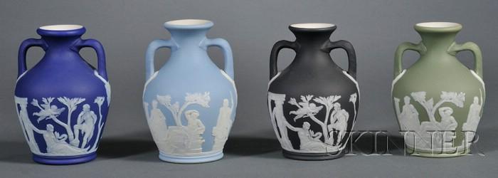 Four Wedgwood Jasper Dip Portland Vases