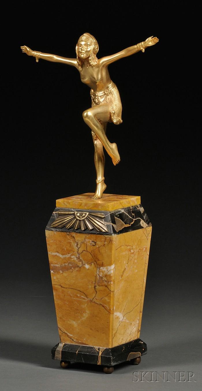 After Demetre H. Chiparus (1888-1950),       Gilt-bronze Figure of an Art Deco Dancer, Chain Dancer