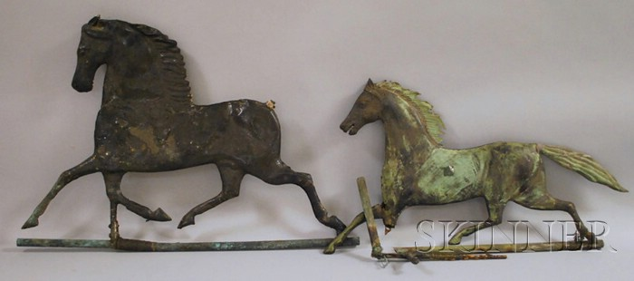 Two Painted Molded Copper Running Horse Weather Vanes