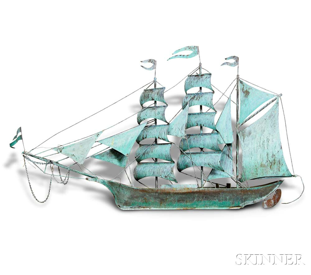 Large Patinated Copper Ship's Model