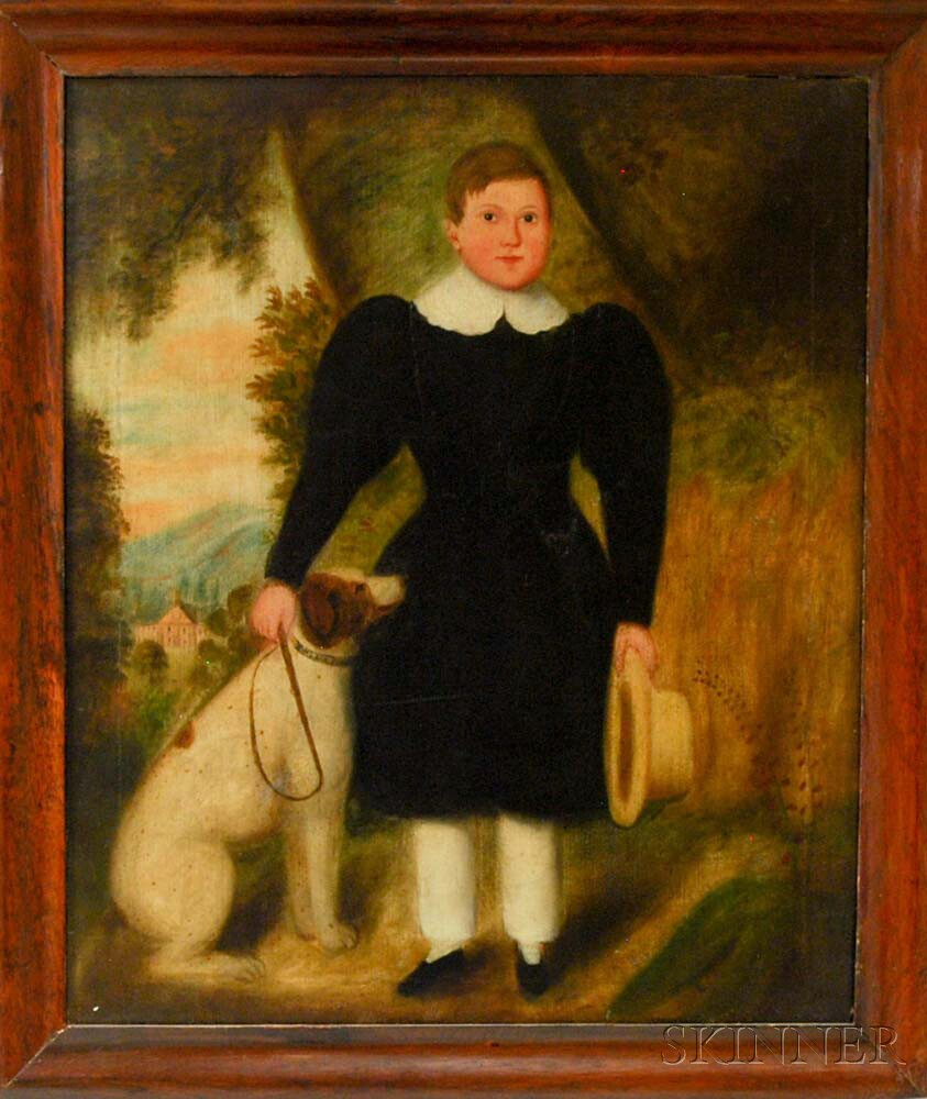 Anglo/American School, 18th Century       Portrait of a Boy and a Dog.