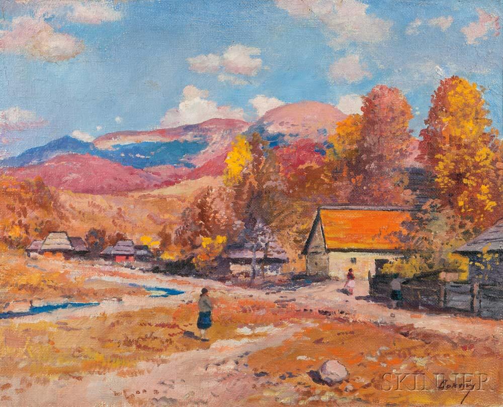 Josif Josifovic Boksay (Ukrainian, 1891-1975)      Village Life, Autumn
