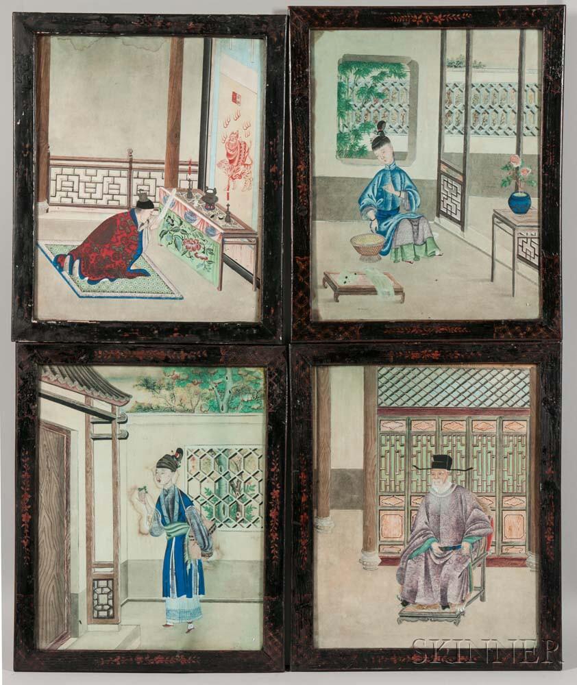 Set of Four Genre Paintings