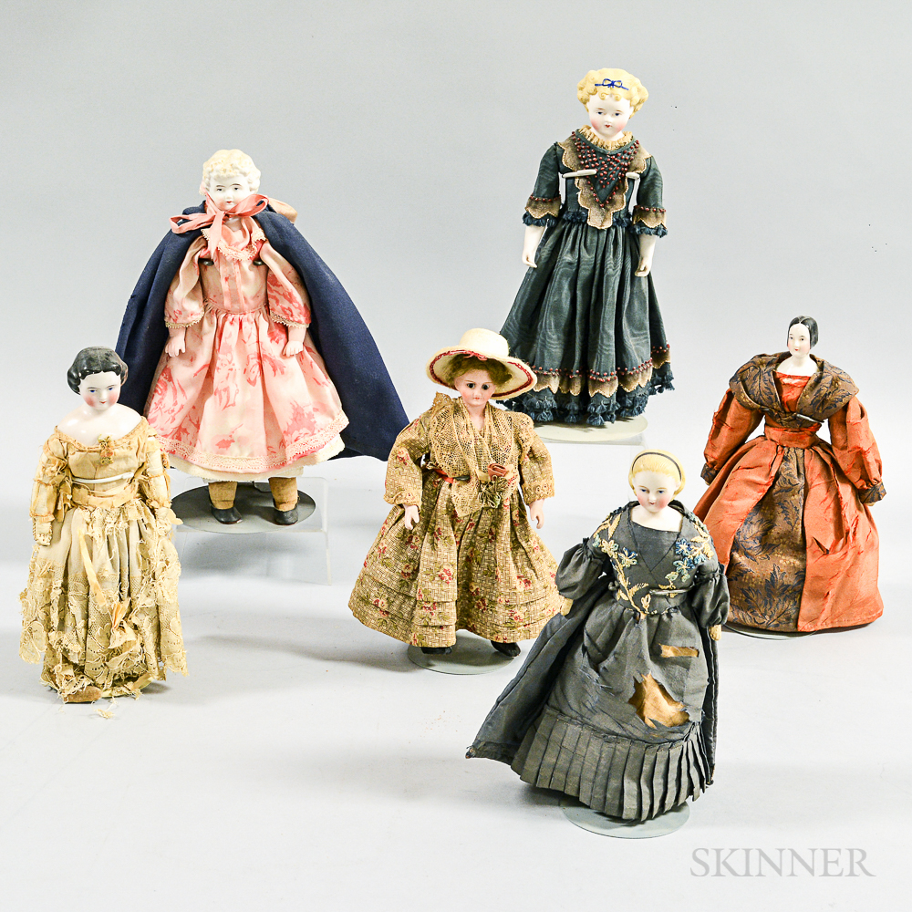 Six Bisque and China Shoulder Head Dollhouse Dolls