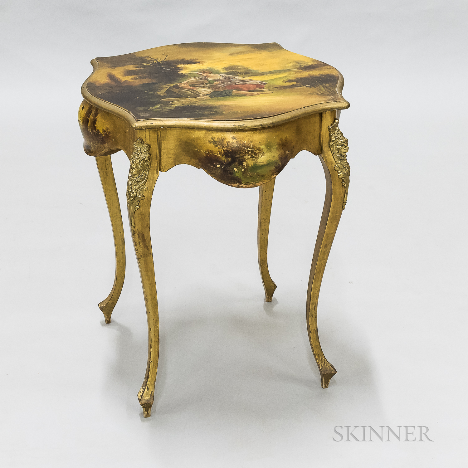 Louis XV-style Vernis Martin Painted and Gilt Table