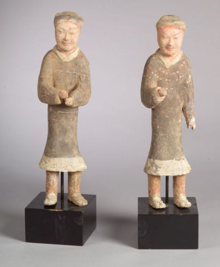 Pair of Han Pottery Figures