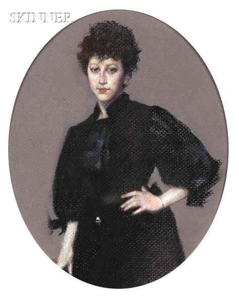 American School, 19th/20th Century      Pastel of a Woman