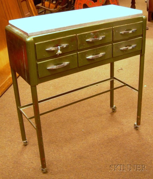 Mid-20th Century Marble-top Green Metal Dentists Rolling Utility Cabinet.