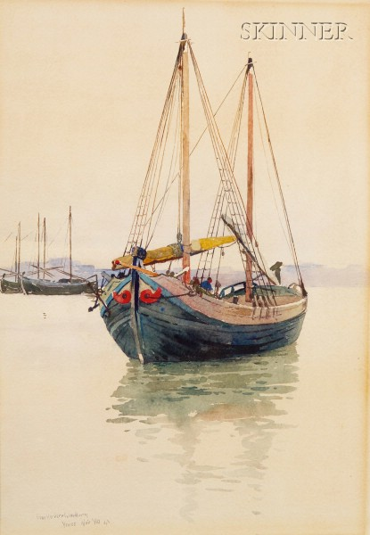 Charles Herbert Woodbury (American, 1864-1940)      Boat in the Harbor