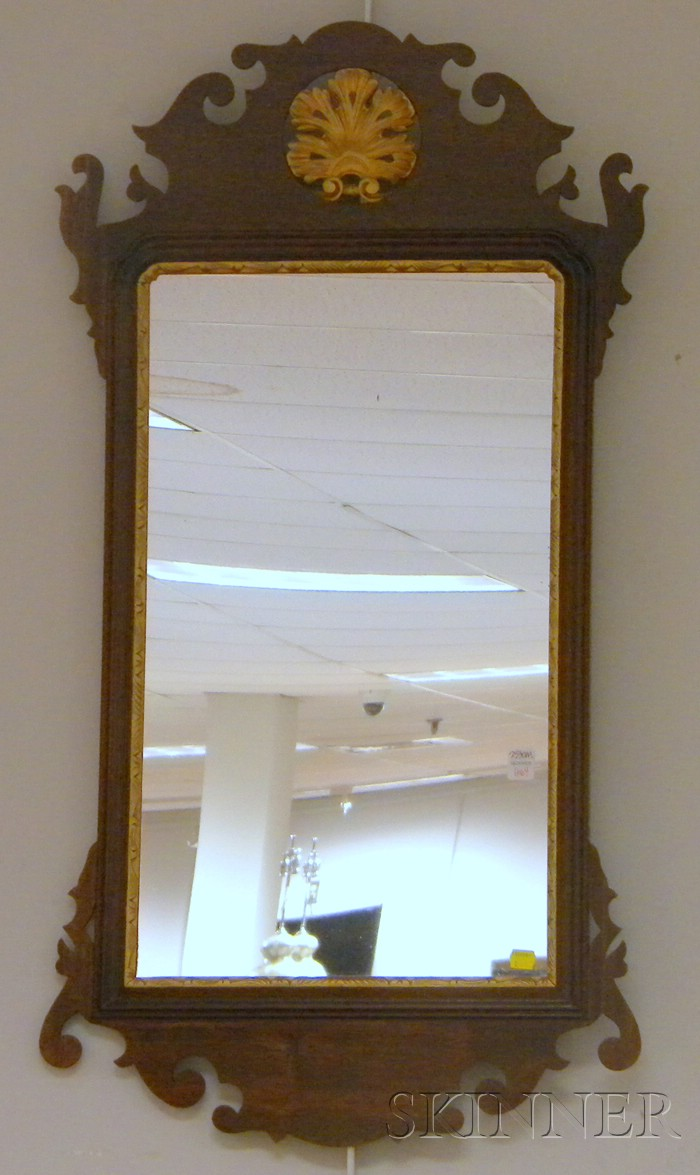 Chippendale-style Parcel-gilt and Mahogany Mirror