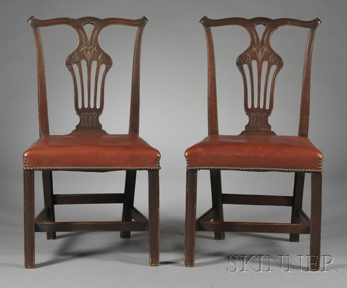 Set of Six George III-style Carved Mahogany Dining Chairs