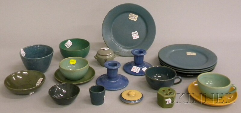 Nineteen Pieces of Saturday Evening Girls and Paul Revere Pottery